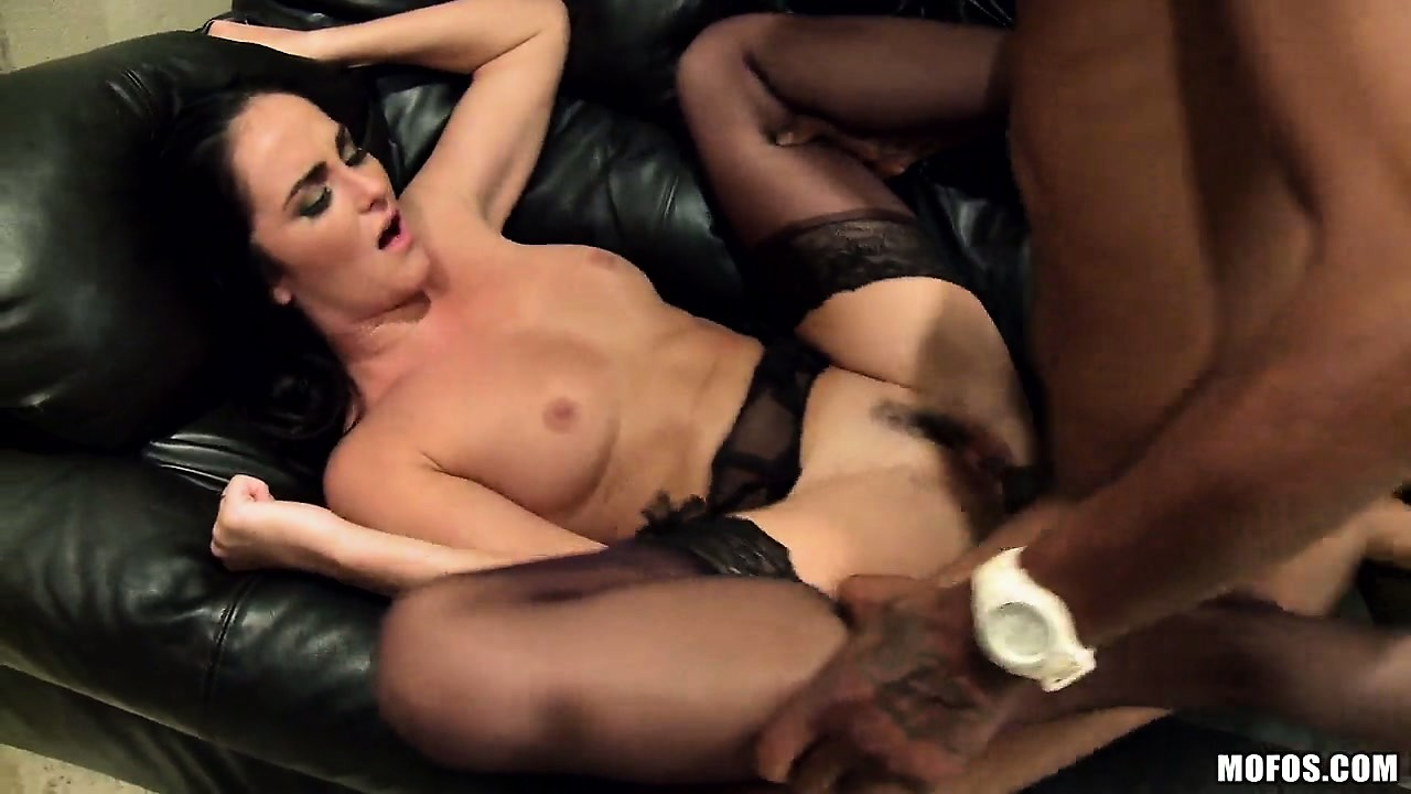 Porno Video of The Beautiful Brunette Gets Pounded On The Black Sofa And Moans With Pleasure