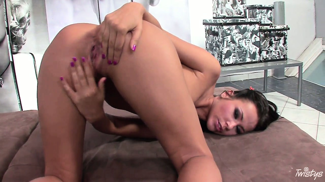 Porn Tube of Adorable And Sexy Brunette With Athletic Body Kneels Down And Fingers Her Pink Pussy