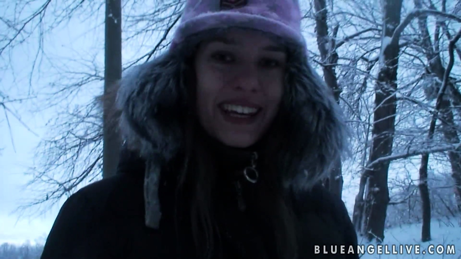 Porn Tube of Fine European Babe Takes A Walk Through The Woods During Winter