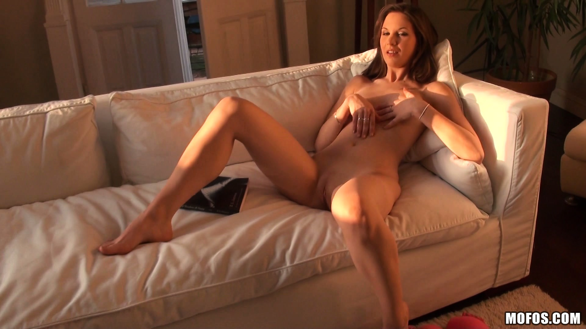 Porn Tube of Gorgeous Babe With Sublime Tits Plays With Her Sweet Pussy On The Sofa